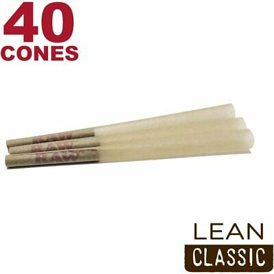 RAW 40 Classic Lean Hemp Cones - Natural Brown Unbleached Rolling Papers