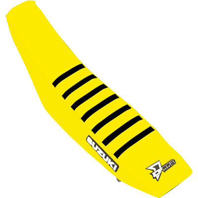 NEW MX D'COR Suzuki RMZ250 19 RMZ450 18-19 Ribbed Yellow/Black Seat Cover