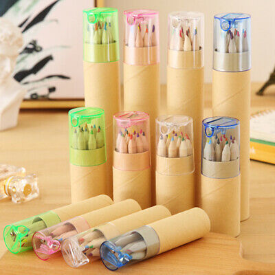 FM_ 6/12PCS Pencil Colored Drawing Set For Kids Art Sketch With Pencil Sharpener