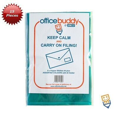 10 A4 POPPER WALLETS Plastic Document Folders ENVELOPE Stud ASSORTED COLOURS