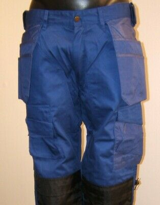 BLUE heavy duty work pants inc pockets with free knee pads lots of sizes