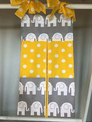 Elephant Yellow/Grey Nappy Stacker/Storage for Boy/Girl. Ideal Baby Gift.