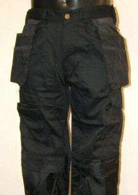 BLACK heavy duty work pants inc pockets with free knee pads lots of sizes