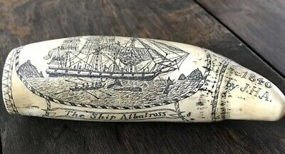 Scrimshaw Reproduction Whale Tooth Ship Albatross US Flag & Nude lady