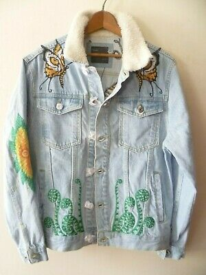 Zara Embroidered Denim Jacket Gems Patches Puffy Sleeves Size XS-S Uk 8//10