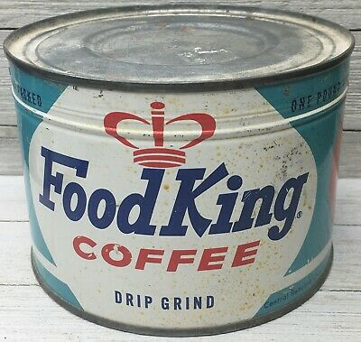 RARE Vintage Food King Drip Grind Coffee Can Tin 1 LB. SEALED