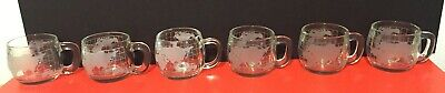 6 Nestcafe/Nestle Frosted Etched Glass World Coffee Mugs