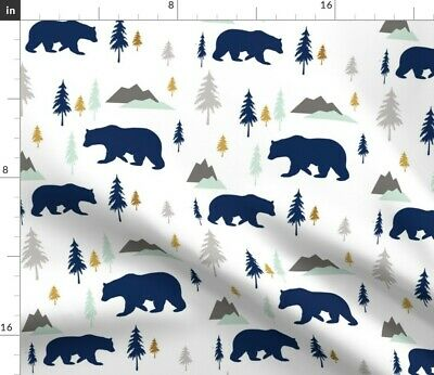 Bears Forest Woodland Northwoods Baby Boy Fabric Printed by Spoonflower BTY