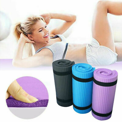 15mm Extra Thick Yoga Mat Non Slip Exercise Pilates Gym Picnic Camping Straps