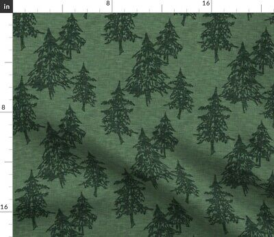 Northwoods Green Evergreen Trees Forest Woods Fabric Printed by Spoonflower BTY