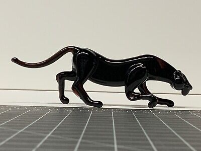 """Black Amethyst Glass Panther Figurine 5.7"""" Long"""