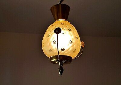 Antique smaller Chandelier ceiling lamp  Glass / Brass Hanging Lamp