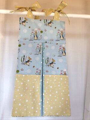 Handmade Peter Rabbit Nappy Stacker for a Boy or Girl. Ideal Baby Gift.