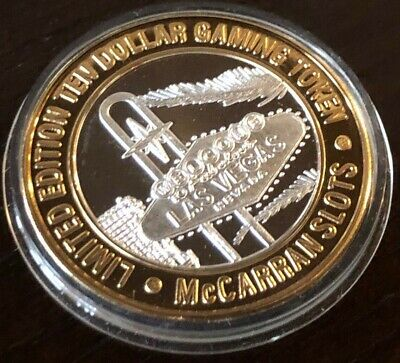 McCarran Airport $10 Silver Strike Token 1999 GDC Las Vegas Sign 1 Dot