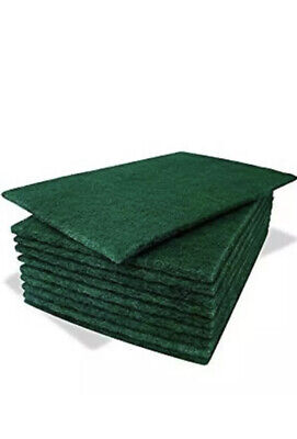 Pack of 4 Heavy Duty Professional Green Scourer Pads (6'' x 9'')