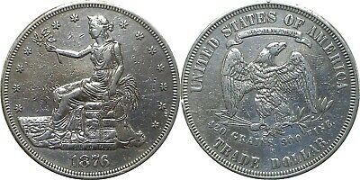 1876-S $1 Silver Trade Dollar Very Fine Details Cleaned