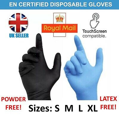 100 Disposable Black Blue Powder/Latex Free Rubber Gloves Nitrile PPE S M L XL