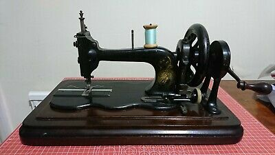 Rare Antique Bradbury Fiddle Base Hand-crank Sewing Machine