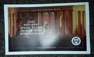 2020 W REVERSE PROOF Jefferson Nickel West Point Envelope - NO COIN