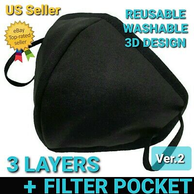 Face Mask 3D Triple Layer Reusable & Washable Filter pocket Ver.2 Unisex US Sell