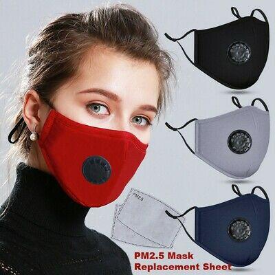 1mask+2pcs Filter Washable Anti-fog Haze-Face Mouth Cover Protetion Respirator