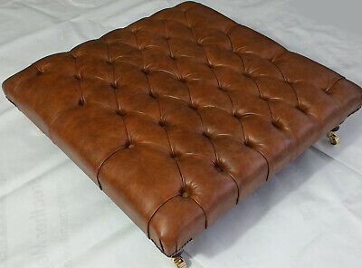 Extra Large Square Chesterfield Footstool Table Castors-100% Vintage Tan Leather