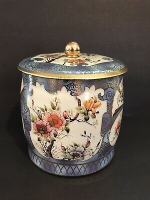 Daher Tin Round Floral Lid Knob Made in England Tea Canister Biscuit Flowers