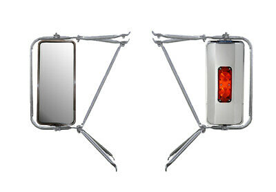 Set Chrome Arm Assembly w/ Stainless Steel West Coast Heated Lighted Mirror