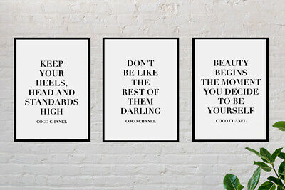 Set of 3 Coco Chanel Quote Poster Prints   A4 Wall Art Home Decor Gift Idea