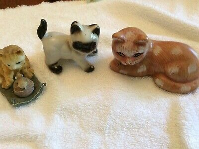 Collectible cat figurines decorations - set of 3