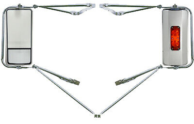 Chrome Mounting Assembly West Coast Heated Lighted Mirrors w/ Convex