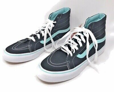 Vans Off The Wall High Top Black Blue White Skateboard Shoes Mens 8.5 Women 10