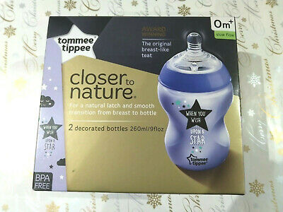 Pack of Two Tommee Tippee Closer To Nature Bottles (260ml, 0 month+, Brand New)