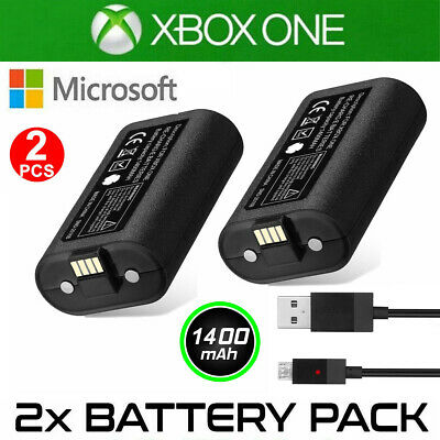 2X Rechargeable Battery Pack For XBOX ONE Controller Play Charging + USB Cable