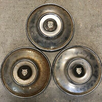 Lot de 3 Enjoliveurs Jaguar Voiture Ancienne Vintage XJ Chrome 1970 1950