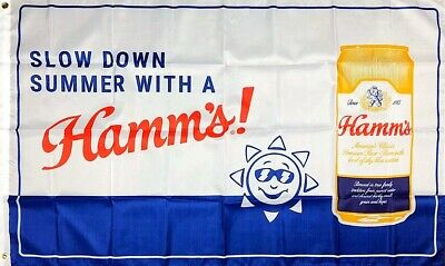 Hamm's Beer Blue Flag 3x5 Banner Man Cave Beer Theodore Hamm