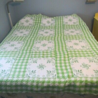 """Vintage Quilt Embroidered hand quilted Measures 66"""" x 84"""" Green/White Gingham"""