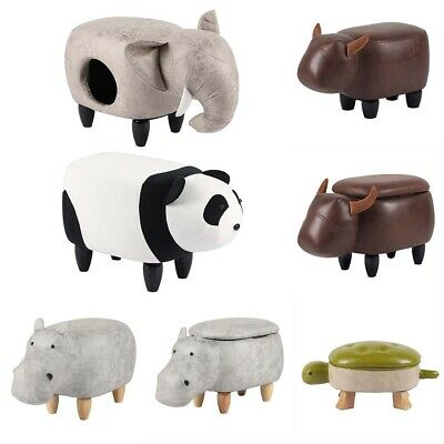 Animal Footstool Upholstered Ottoman Footrest Step Stool Pouffe Chair for Kids