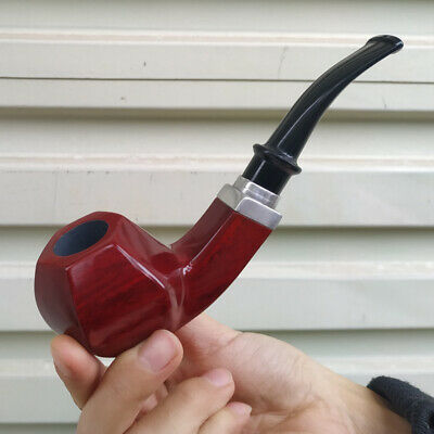 Red Wood Durable Wooden Wood Smoking Pipe Tobacco Cigarettes Cigar Pipes Gift