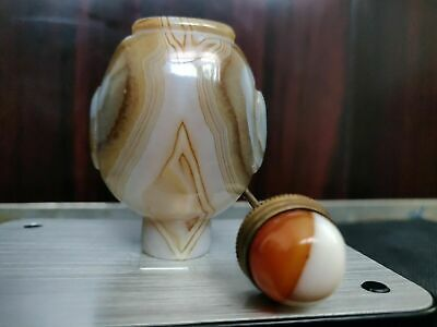 natural agate China snuff bottle gem cap!bronze stick,cell nucleus in ocean wave