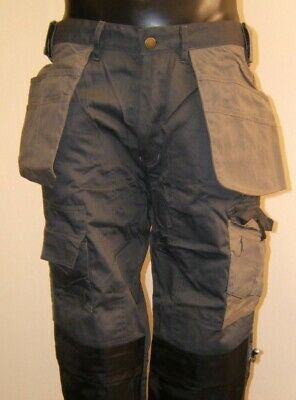 GREY heavy duty work pants inc pockets with free knee pads lots of sizes