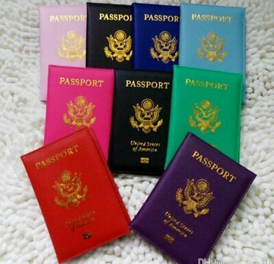 Faux Leather USA Passport Travel Case ID Card Holder Cover Organizer LOT USA