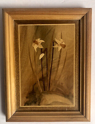 Vintage Framed German Inlaid Marquetry Daffodils Picture