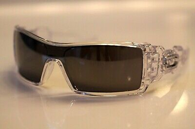 Oakley Oil Rig Sunglasses Polished Clear Frame W/ Black Iridium Lens RARE NEW
