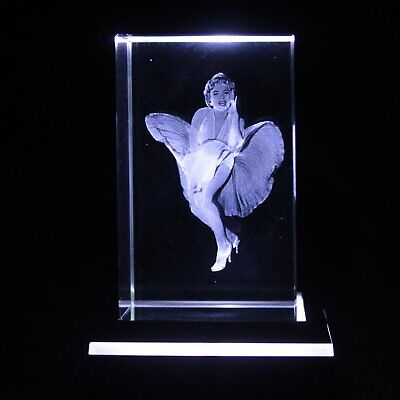 Laser 3D Etched Clear Crystal Block Ornament / Gift / Paperweight - Marilyn UK