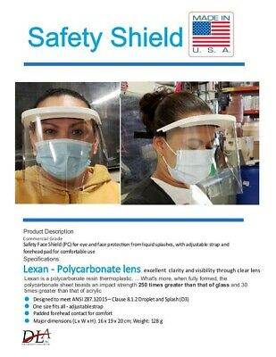 Safety Protective Full Face Shield W/LEXAN ULTRA CLEAR  LENS ! USA 13.85ea