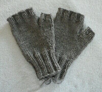 Hand Knit Fingerless Mittens Gloves  Charcoal Gray Heather  FREE SHIPPING  NEW!