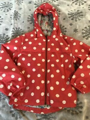 Girl's Cath Kidston Rain Jacket Red & White Polka Dots Floral Lining 5-6 Years