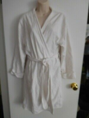 Crabtree and Evelyn White Cotton/ Terry Floral Embroidered Wrap Robe w/ Belt S
