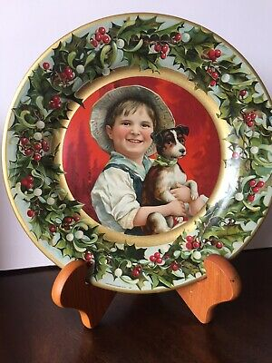 """Antique Vienna Art Advertising """"Theo. Gier Wine Co."""" Plate Christmas Boy w/Dog"""